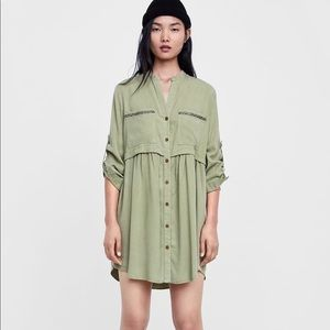Zara bead shirt dress NWOT